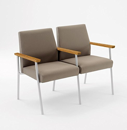 Lesro Mystic 2 Seat Guest Chair with Center Arm and Medium Oak Wood Armrests, Black Frame, Core Burst Fabric (Lesro Chairs Arm Oak)