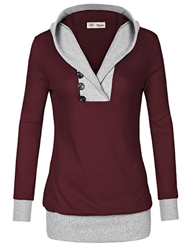 Hooded Comfy Sweater (Timeson Red Hoodie, Womens Long Sleeve Shawl Collar Comfy Hooded Casual String Tunic Sweatshit Hoodie Large Red)