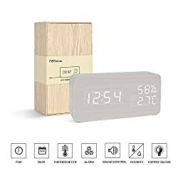 FiBiSonic wooden digital LED voice/touch control desk silent modern style snooze alarm clock with Thermometer and hygrometer, best gifts for friends/families