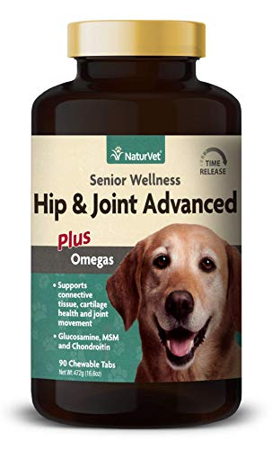 NaturVet - Senior Wellness Hip & Joint Advanced Plus Omegas - Help Support Your Pet's Healthy Hip & Joint Function - Supports Joints, Cartilage & Connective Tissues - 90 Time Release Tablets (Plus Formula Advanced)