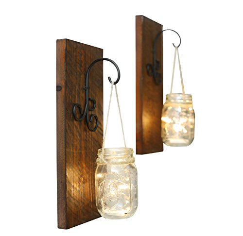 Classic Home Decor (Bleecker Station Rustic Mason Jar Wall Sconce Set with Fairy Lights, Distressed Brown, Set of Two Farmhouse Lighted Sconces, Rustic Home Décor)
