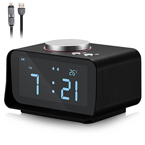 Alarm Clock Radio Fywonder, Dual USB Charger Port, Indoor Thermometer, AUX-IN Speaker, Brightness Dimmer Night light, Snooze and Dual Alarm Smart Digital Alarm Clock for Car Travel, Hotel, Bedroom