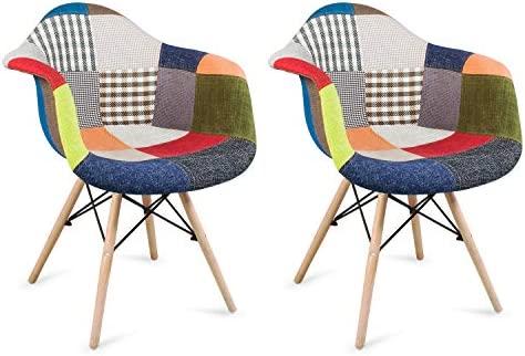 joolihome - Juego de 2 sillones de patchwork, sillas de comedor estilo vintage de tela reto Eiffel