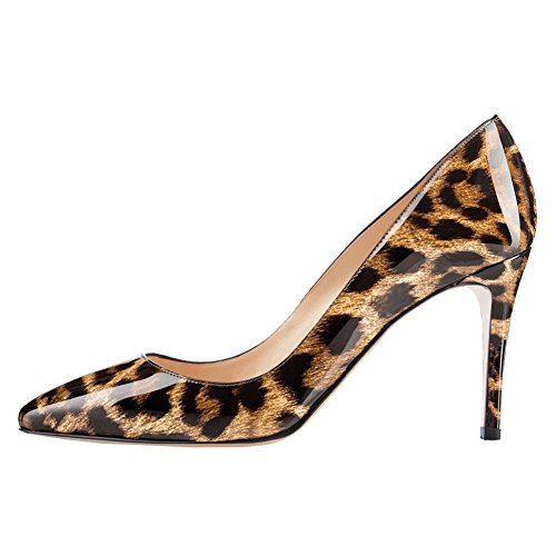 June in Love Women's Middle Heels Shoes Pointy Toe for Daily Usual Girls Lady Pumps Leopard 7.5 US