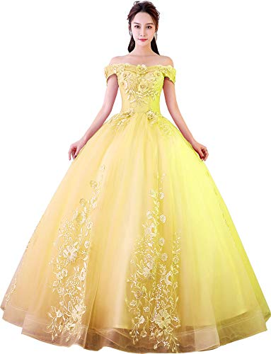 Okaybrial Women's Sweet 16 Quinceanera Dresses Yellow Off Shoulder Lace Long Prom Ball Gowns Size 2 ()