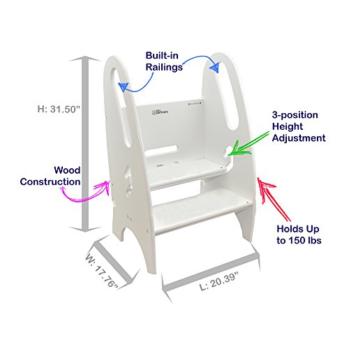 Toddler and Adult Step Up Stool | 3-in-1 Adjustable Height Stepstool for Kitchen, Bathroom, or Nursery (Soft White)