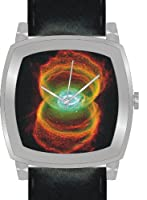 """Hourglass Nebula"" Is the Hubble Image on the Dial of the Polished Chrome Cushion Shape Watch with a Black Leather Strap"