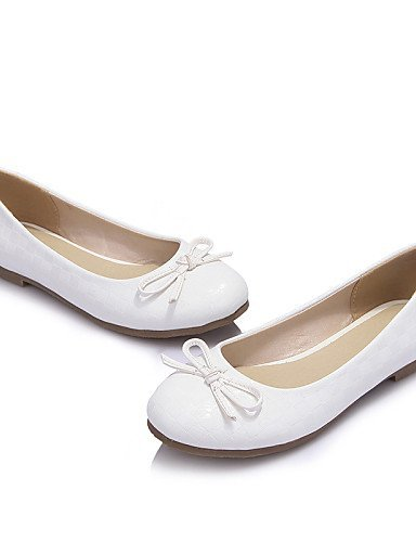 pelle Scarpe Ballerine White ShangYi almond Rosa Donna Finta Bianco Tessuto Piatto arrotondata Casual Punta 8dWTq