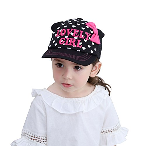 Huixiang Toddler Girls Baseball Cap Embroidery Baseball Hat Adjustable Sun Ball Caps with Ponytail Hole Bows - Letters Only Ball Cap