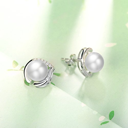 J.Rosée Freshwater Cultured Pearl Earrings, Stud Earrings with 925 Sterling Silver and 5A Cubic Zirconia, Jewelry Gifts for Women Girls by J.Rosée (Image #6)