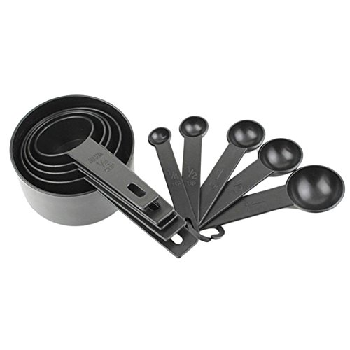 New Arrival 10-Piece Plastic Measuring Cup and Spoon Set - Perfect for Cooking and Baking Coffee Tea Kitchen Tools (Black)