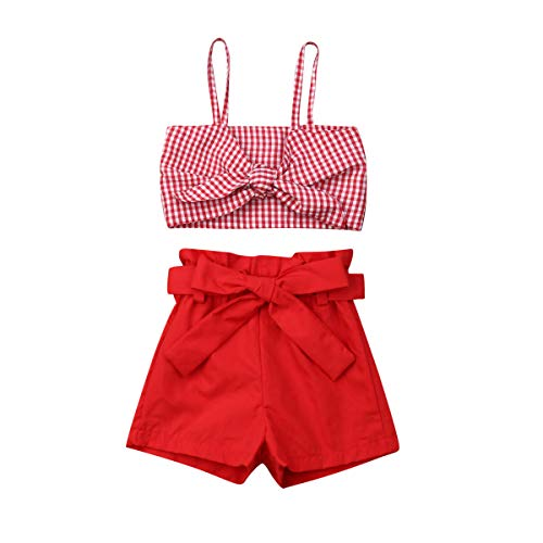 2Pcs Newborn Cute Pink Bow Outfits, Baby Girl Strap Crop Top+Ruffle Shorts Bloomers Summer Clothes Set (Plaid Crop Top Red Shorts Set, 2-3 Years)