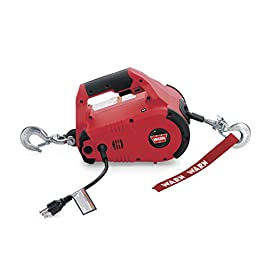 WARN 885000 PullzAll Corded 120V AC Portable Electric Winch with Steel Cable: 1/2 Ton (1,000 Lb) Pulling Capacity