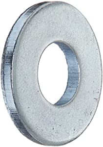 """Steel Flat Washer, Zinc Plated Finish, ASME B18.22.1, No. 8 Screw Size, 3/16"""" ID, 7/16"""" OD, 0.049"""" Thick (Pack of 100)"""
