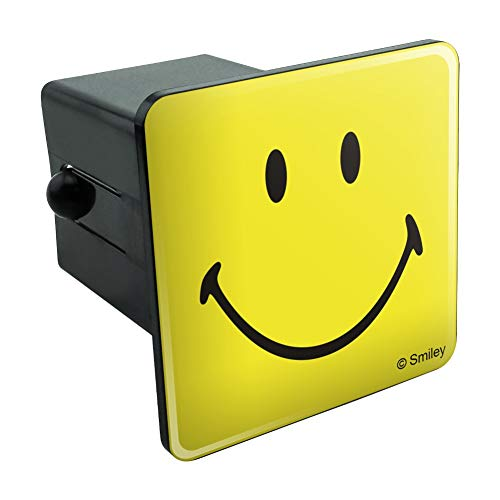 (Graphics and More Smiley Smile Happy Yellow Face Tow Trailer Hitch Cover Plug Insert 2
