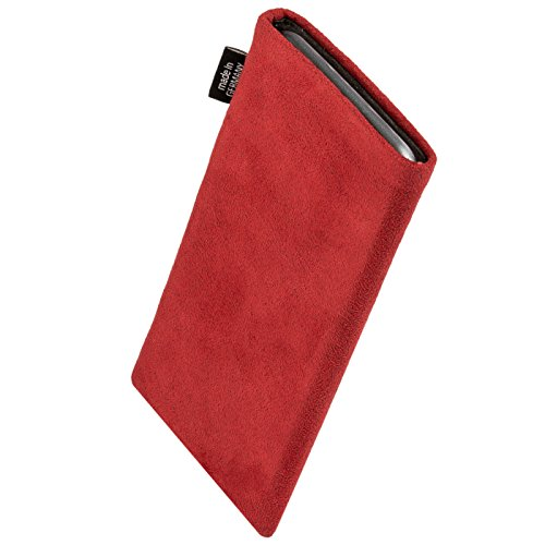 fitBAG Classic Red custom tailored sleeve for Nokia 6700 classic. Genuine Alcantara pouch with integrated MicroFibre lining for display cleaning
