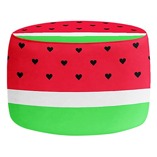 Foot Stools Poufs Chairs Round or Square from DiaNoche Designs by Organic Saturation - I Love Watermelon by DiaNoche Designs (Image #3)