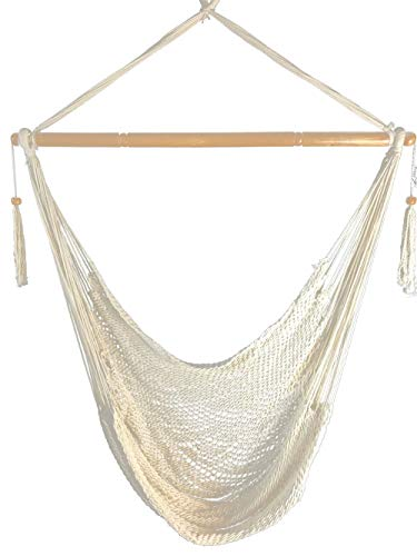Krazy Outdoors Mayan Hammock Chair - Large Cotton Rope Hanging Chair Swing with Wood Bar - Comfortable, Lightweight - for Indoor & Outdoor Porch, Yard, Patio and Bedroom (Natural White) - Island Rope Hammock Chair