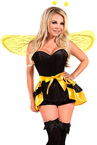 Size Bee Plus Queen Costumes (Daisy Corsets Women's Lavish 4 Piece Queen Bee Costume, Yellow,)