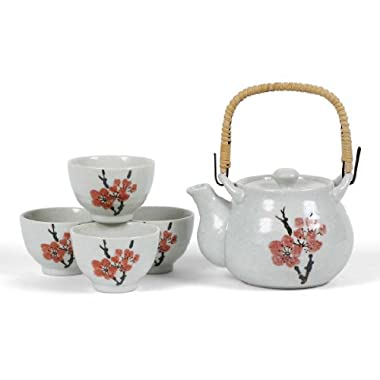 Japanese Stoneware Tea Set Gift Set with Tea Pot and Four Cups, Red Plum by MIYA