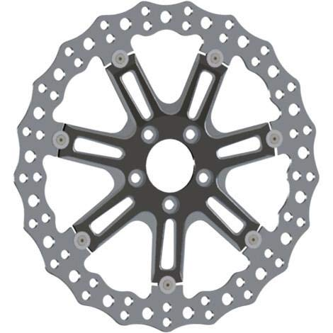 Arlen Ness 33-10301-203 14in. Two-Piece Floating Front Brake Rotor - 7 Valve Black ()