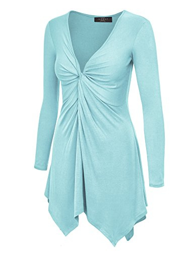 (Made By Johnny MBJ Womens Long Sleeve Knot Baby Doll Tunic Top XL Aqua)