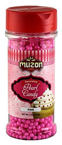 Muzon Pink Pearls Edible Cake Decorations (4 oz.) – Sugar Candy Sprinkles – Topping for Icing, Birthday Cupcakes, Sweet Treats & Cookies Pink Edible Sugar Pearls Dragees Decoration Balls Candy ()