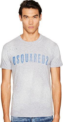 DSQUARED2  Men's Clothes Line Wash T-Shirt Grey Melange/Blue T-Shirt by DSQUARED2