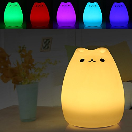 USB Rechargeable Night Light Silicone Cat Smiley Face Bedside Lamp 7 Color Changing for Kids New Year - Aurora Outlet Mall