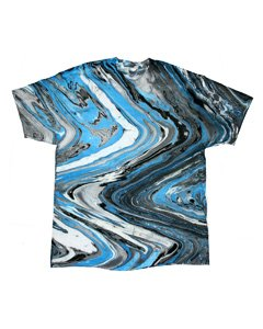 Tie Dye Colortone Adult Marble Tee, Marble Blue Tiger, Small