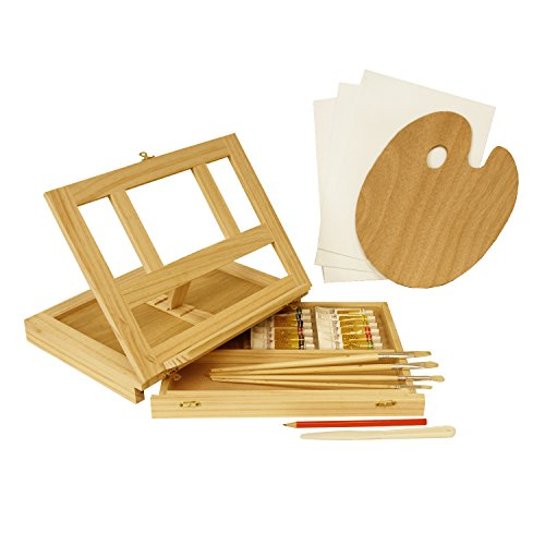 US Art Supply Wood Easel Box Set with 12 Colors, Canvas Panels, Brushes, Palette, Pencil & Knife (Oil Paint Kit)