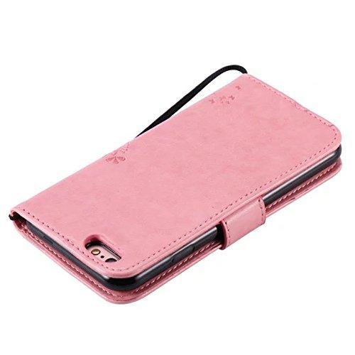 EKINHUI Case Cover Solid Color Premium PU-Leder-Etui Prägung Muster Flip-Standplatz Fall Deckung mit Karte und Bargeld Schlitze für iPhone 6 6s 4,7 Zoll ( Color : Pink )