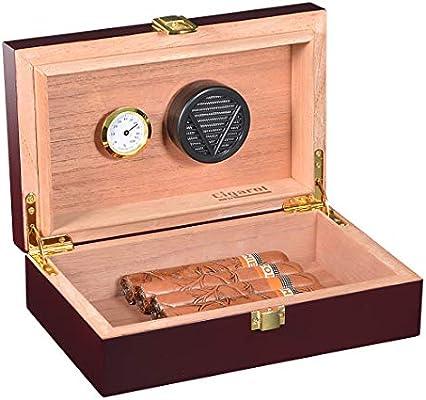 Volenx caja de puros con higrómetro y humidificador portátil de viaje para puro humidorcan para 5-10 cigarros: Amazon.es: Hogar