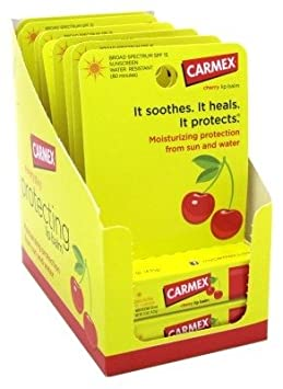 Carmex Click-Stick Moisturizing Lip Balm SPF 15 Cherry 0.15 oz Pack of 12