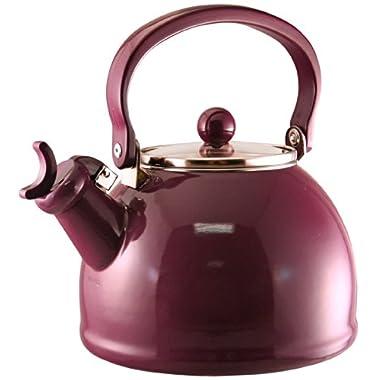 Reston Lloyd Calypso Basics Whistling Teakettle with Glass Lid, Plum, 2.2-Qt.