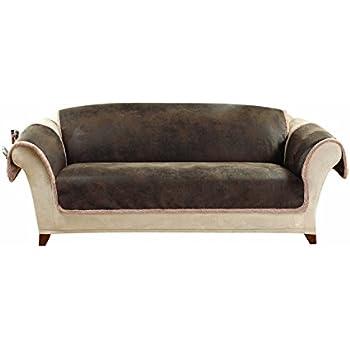 Beau SureFit Vintage Leather   Sofa Slipcover   Brown