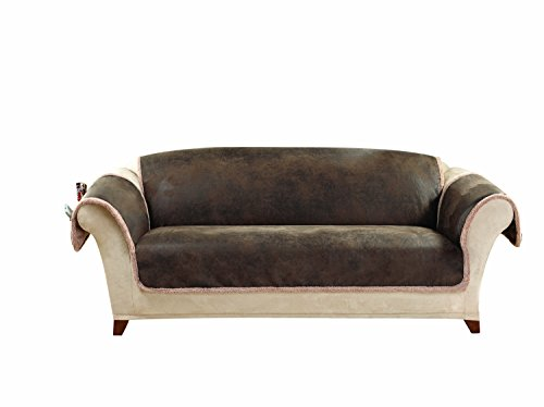 Sure Fit Vintage Leather - Sofa Slipcover  - Brown (SF43058)