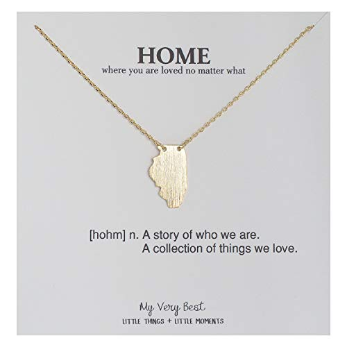(My Very Best State Map Necklace (Illinois_Gold Plated Brass))