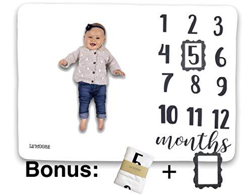 Fleece Premium Baby Milestone Blanket White 40 x 60