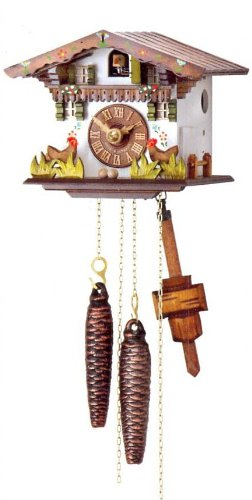 One Day Movement Cuckoo Clock with Moving Chickens 5.4 Inch