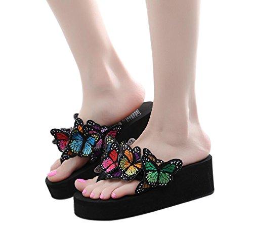 DANDANJIE Chanclas de Las Mujeres Hermosa Mariposa Sandalias de tacón 6cm Antideslizantes Sandalias Frescas Sandalias de Confort de Compras de la Manera (Negro Azul Blanco) Zapatos caseros Negro