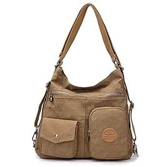 Casual Crossbody Bags for Women Waterproof Canvas Hobo Shoulder Handbags Lightweight Convertible Backpack (beige)