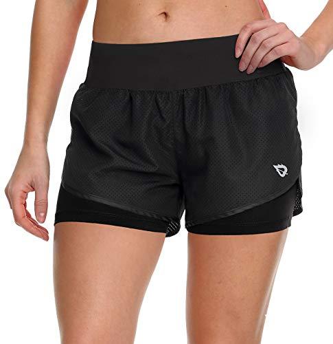 Baleaf Women's Running Shorts 2 in 1 Back Pocket Workout Jogging Shorts Black/Black Size M ()