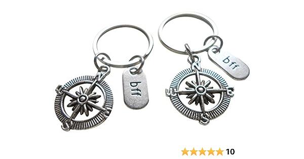 Edgy FriendshipPartner Compass Gear Double Industrial Keychains with inscription
