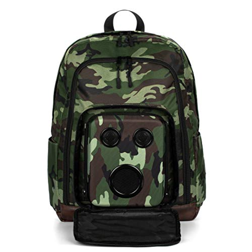 Bluetooth Speaker Backpack with 15-Watt Speakers & Subwoofer for Parties/Festivals/Beach/School. Rechargeable, Works with iPhone & Android (Camo, 2019 Premium Edition) (Speaker Portable Bag)