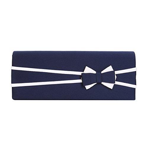 Premium Matte 2-Tone Bow Front Flap Clutch Evening Bag, Navy ()