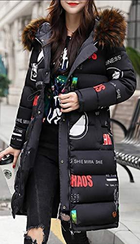 Hooded Zip Print Black Coat Coat TTYLLMAO Women's Thick Front Long Down Parkas wFqSgX7