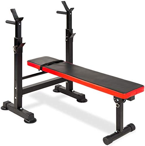 Best Choice Products Adjustable Folding Fitness Barbell Rack & Weight Bench Set for Home Gym, Strength Training w/Incline & Decline Capability, Padded Faux Leather, Easy Storage - Black/Red 1