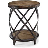 Magnussen T1755 Pinebrook Distressed Natural Pine Wood Round Accent Table