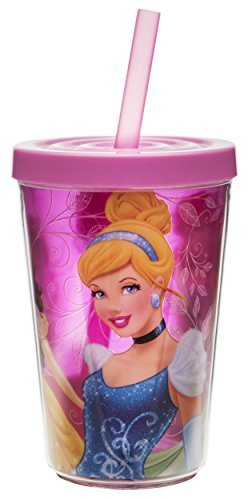 Zak! Designs Insulated Tumbler with Screw-on Lid and Straw featuring Disney Princess Graphics, Break-resistant and BPA-free Plastic , 13 oz. by Zak Designs by Zak Designs